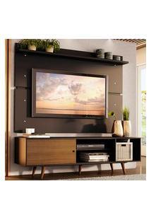 Rack Madesa Dubai E Painel Para Tv Até 65 Polegadas Com Pés - Preto/Rustic D8D8 Preto