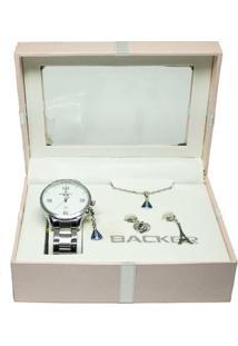 Kit Relógio + Berlocks + Corrente 106140061F Br Backer Feminino - Feminino-Dourado