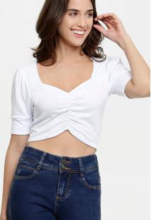 Blusa Feminina Cropped Drapeada Marisa