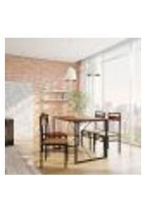 Conjunto De Mesa Win Com 4 Cadeiras Preto E Ipê