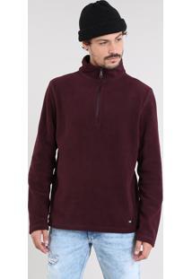 Blusão Masculino Básico Em Fleece Com Zíper Vinho
