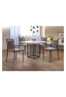 Conjunto De Mesa De Jantar Hera Com Tampo De Vidro Siena E 4 Cadeiras Grécia Ii Linho Bege E Café