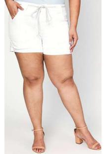Short Almaria Plus Size Izzat Jeans Branco