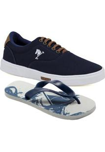 Kit 1 Tênis Casual, 1 Chinelo Polo Joy Masculino - Masculino