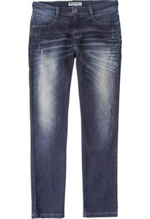 Calça Masculina Hering Skinny Em Jeans Com Desgaste