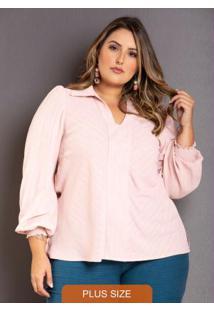Camisa Manga Longa Lurex Plus Size Rosa