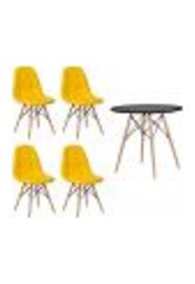 Conjunto 4 Cadeiras Eames Botonê Amarela + 1 Mesa Eames 80Cm Preta Base Madeira Cozinha Jantar