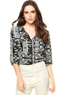 Camisa Queens Bolsos Preta/Branca
