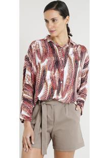 12b9b2752a ... Camisa Feminina Ampla Lenny Niemeyer Estampada Penas Manga Longa Off  White