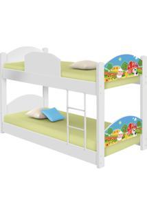 Beliche Infantil Fazendinha Colorida Com 2 Colchões Casah