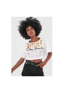 Camiseta Cropped Triton What Ever Off-White