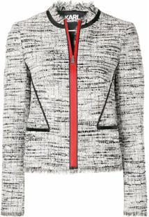 Karl Lagerfeld Jaqueta Bouclé Com Detalhes Acetinados - Cinza
