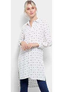 Camisa Top Moda Alongada Motocicleta Feminina - Feminino-Branco