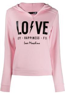 Love Moschino Love Print Hoodie - Rosa