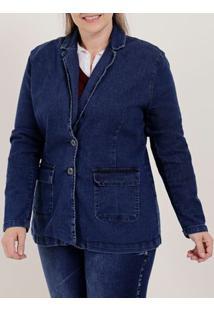 Blazer Jeans Plus Size Feminino Azul