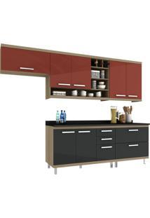 Cozinha New Vitoria 11 Avelã Hecol Móveis Vermelho/Preto