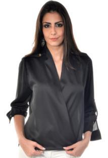 Camisa Banca Fashion Sofia Preto
