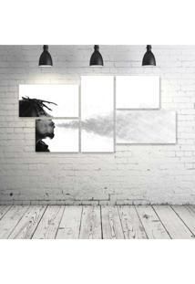 Quadro Decorativo - Bob-Marley-Smoke-Pb - Composto De 5 Quadros