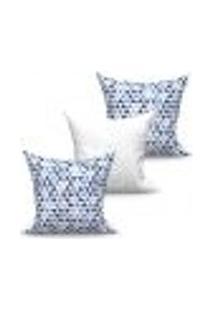 Conjunto De Capas Para Almofada Com 3 Peças Triângulo Medalhão Branco E Azul 45X45 Cm