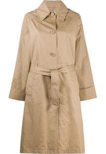 Mm6 Maison Margiela Trench Coat Com Cinto E Abotoamento Simples - Neutro