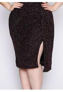 Vestido Almaria Plus Size Pianeta Malha Lurex Rosa
