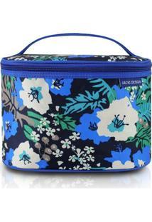 Necessaire Frasqueira Estampada Grande Jacki Design De Nylon - Feminino-Azul+Preto