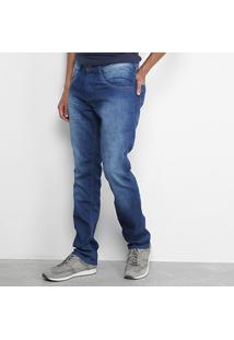 Calça Jeans Slim Biotipo Estonada Básica Masculina - Masculino-Azul