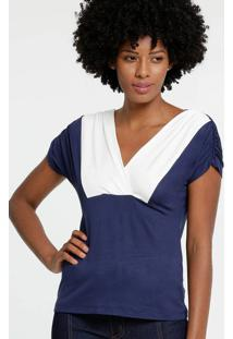 Blusa Feminina Bicolor Manga Curta