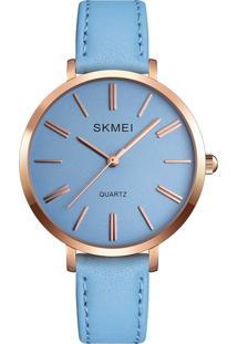 Relógio Skmei Analógico 1397 - Azul E Rosê - Kanui