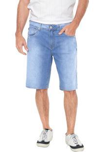 Bermuda Jeans Calvin Klein Jeans Reta Pesponto Azul