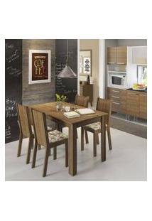Conjunto Sala De Jantar Rosie Madesa Mesa Tampo De Madeira Com 4 Cadeiras Rustic/Floral Lírio Bege