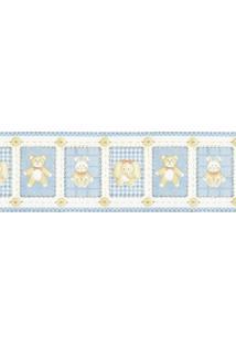 Papel De Parede Border Figuras Azul, Bege Ursos 5508 Bobinex