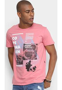 Camiseta Manga Curta Triton Estampada Copenhagen Masculina - Masculino-Rosa