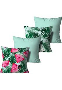 Kit 4 Capas Love Decor Para Almofadas Decorativas Split Leaf Multicolorido Azul