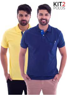 ... Kit 2 Camisas Polo Live - Lifestyle Com Bolso Azul Marinho E Amarela-G1 4df4c486f9955
