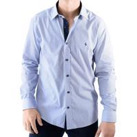 db1553b20 Camisa Zimpool Social Slim Fit Manga Longa Azul