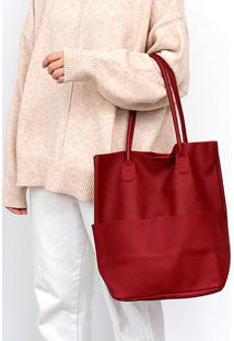 Bolsa Line Store Leather Sacola Shopper N1 Bolsos Couro Vermelho - Kanui