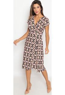 Vestido Transpassado Com Recorte- Preto & Laranja- Nnolitta