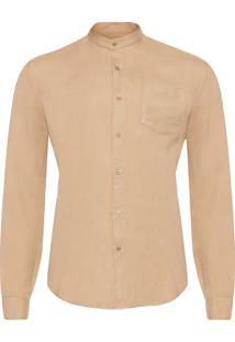 Camisa Masculina Band Collar - Bege