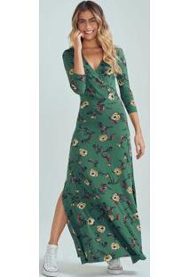 Vestido Verde Escuro Longo Com Transpasse