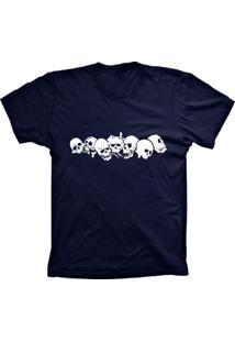 Camiseta Baby Look Lu Geek Caveiras Azul Marinho