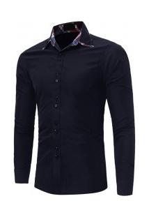Camisa Masculina Slim Fit Sem Bolso Manga Longa - Azul Marinho