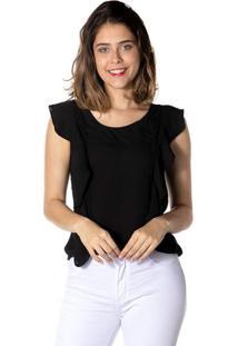 Blusa Lisa Com Babado - Pretadwz