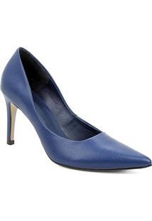 Scarpin Couro Shoestock Salto Alto Mestiço Graciela - Feminino-Azul