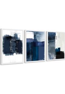 Quadro 40X90Cm Abstrato Textura Margolanak Moldura Branca Com Vidro