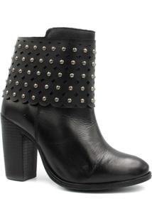 Bota Cano Curto Zariff Shoes Ankle Boot Salto Feminino - Feminino-Preto