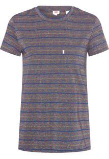 Camiseta Feminina Pocket - Azul