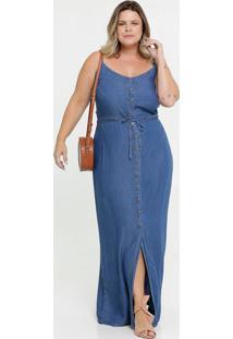 Vestido Feminino Longo Jeans Alças Finas Plus Size
