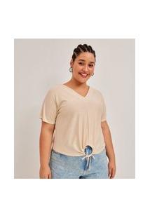 Blusa Malha Brilho Curve E Plus Size Branco