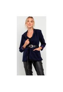 Blazer Elora Elegantic Com Cinto Feminino Azul
